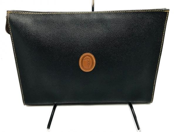 TRUSSARDI(トラサルディー) セカンドバッグ美品  黒×ブラウン レザー