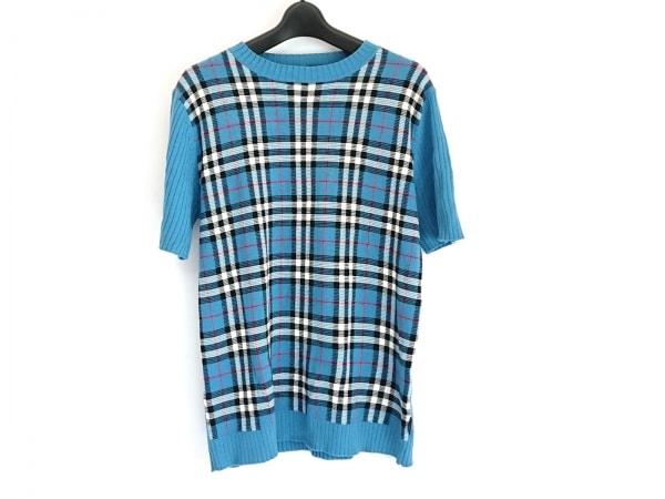 バーバリーブラックレーベル 半袖セーター サイズ2 M メンズ ブルー×白×マルチ