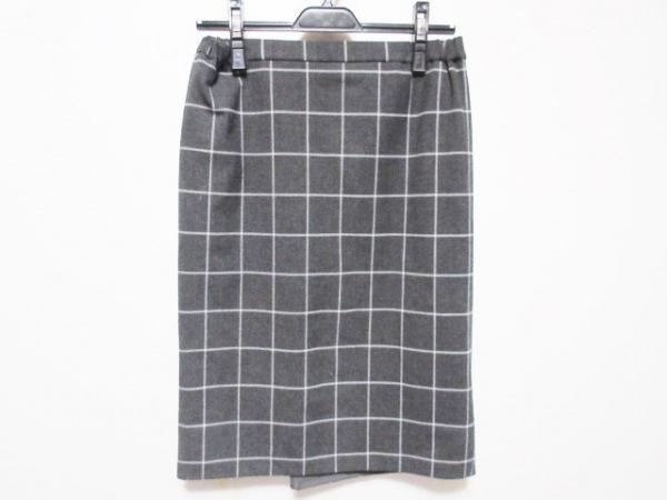 ジユウク スカート サイズ38 M レディース ダークグレー×白 チェック柄