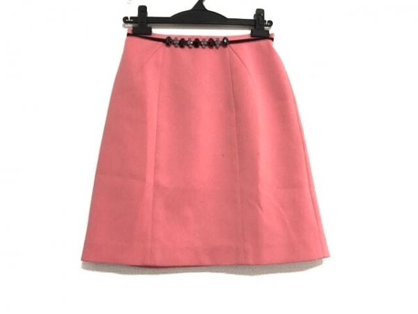 JUSGLITTY(ジャスグリッティー) スカート サイズ1 S レディース ピンク×黒 ビジュー