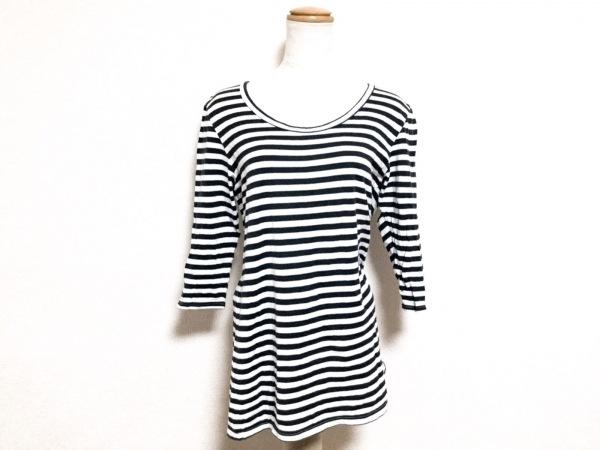 mizuiro  ind(ミズイロインド) 七分袖Tシャツ レディース 黒×白 ボーダー