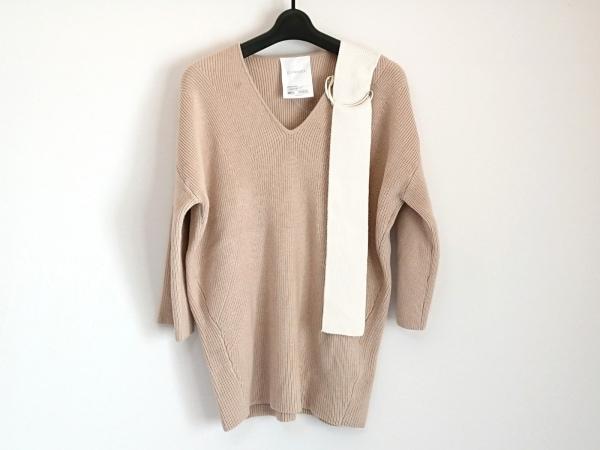 ELENDEEK(エレンディーク) セーター サイズF  F レディース美品  ベージュ×白 5分袖