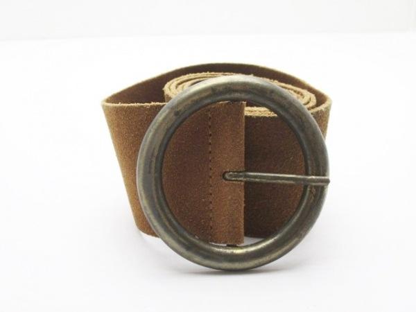 agnes b(アニエスベー) ベルト 不鮮明 ブラウン×ブロンズ スエード×金属素材