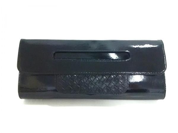 ダブルスタンダードクロージング クラッチバッグ 黒 エナメル(レザー)×レザー