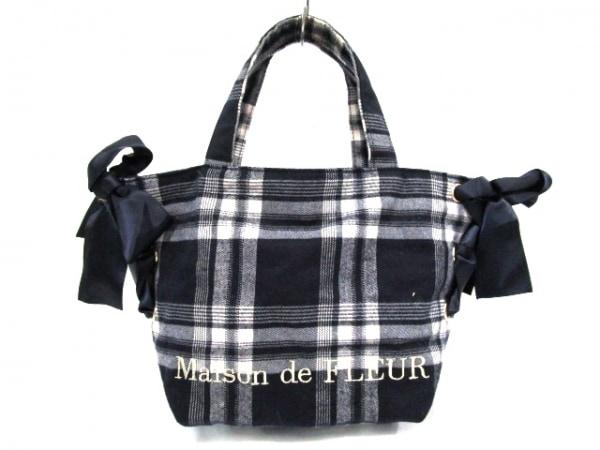 Maison de FLEUR(メゾンドフルール) トートバッグ ネイビー×白 チェック柄/リボン