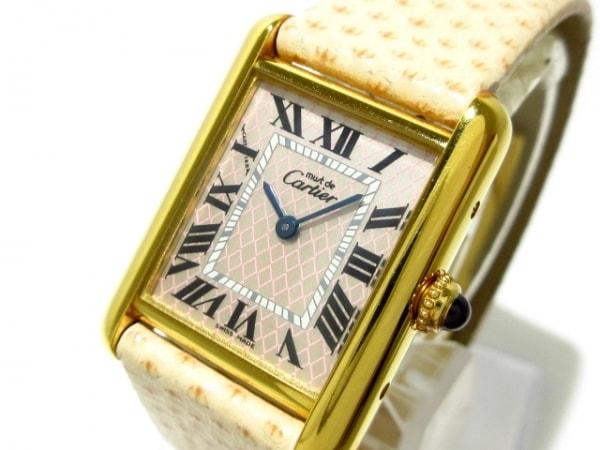 カルティエ 腕時計 マストタンクアクアリーノ W1018587 レディース 革ベルト/925/限定