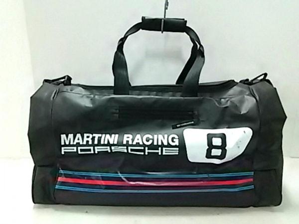 PORSCHE(ポルシェ) ボストンバッグ 黒×マルチ MARTINI RACING PVC(塩化ビニール)
