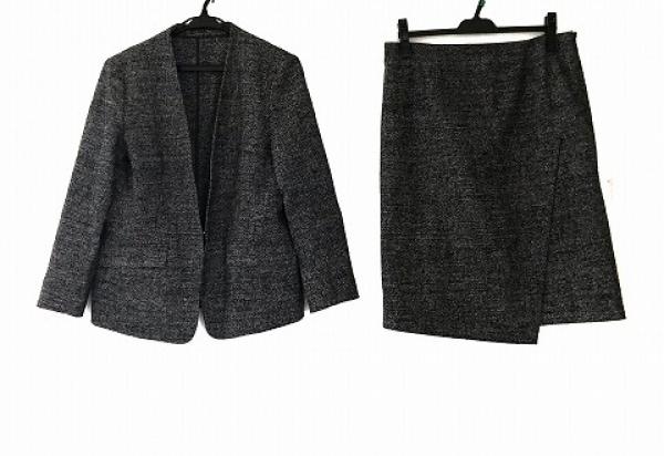 ICB(アイシービー) スカートスーツ サイズ42 L レディース美品  ダークネイビー×白