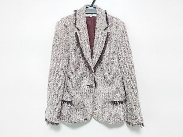 23区(ニジュウサンク) ジャケット サイズ38 M レディース 白×パープル 冬物/ツイード