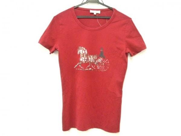 CELINE(セリーヌ) 半袖Tシャツ サイズL レディース レッド×白×ダークグレー