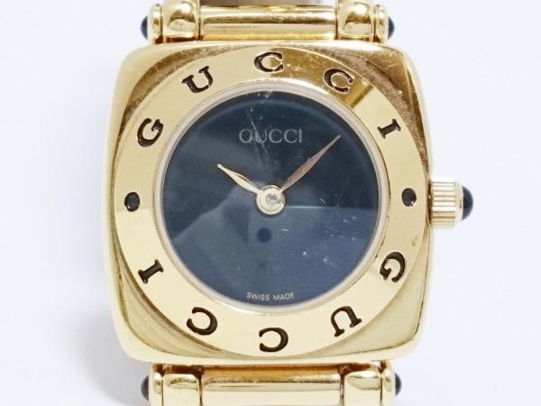 GUCCI(グッチ) 腕時計 6300L レディース 型押し革ベルト/SS 黒