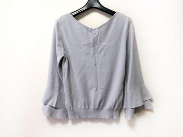 ジャスグリッティー 七分袖セーター サイズ2 M レディース美品  ライトグレー フリル
