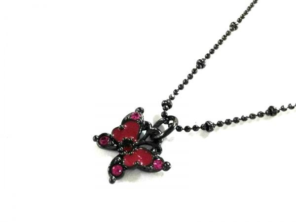 アナスイ ネックレス美品  金属素材×カラーストーン ダークグレー×ピンク 蝶