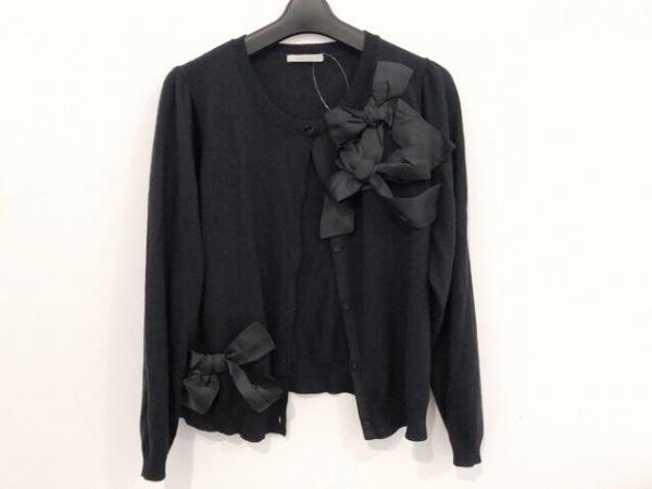 Rose Tiara(ローズティアラ) カーディガン サイズ46 XL レディース美品  黒 リボン