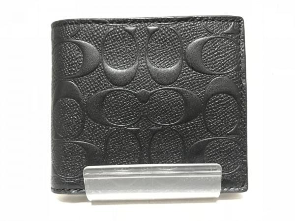 COACH(コーチ) 2つ折り財布美品  シグネチャー柄 F75363 黒 レザー