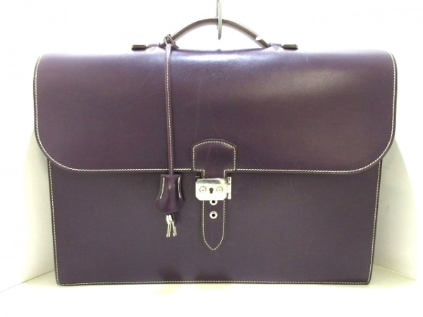 エルメス ビジネスバッグ サックアデペッシュ41 レザン シルバー金具 ボックスカーフ