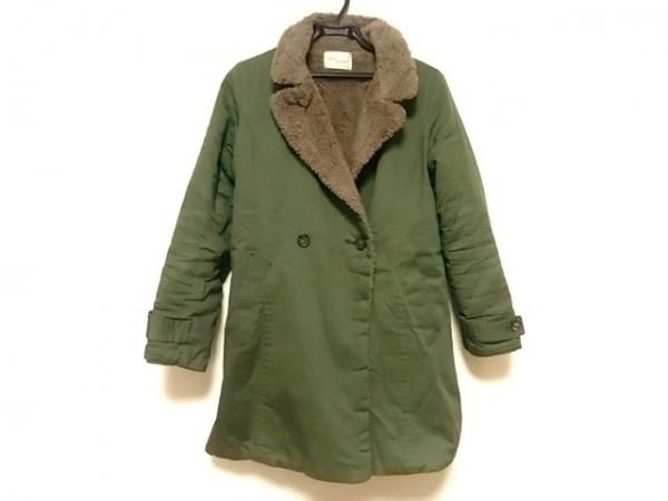 アダムエロペ コート サイズ38 M レディース美品  カーキ×ブラウン 冬物