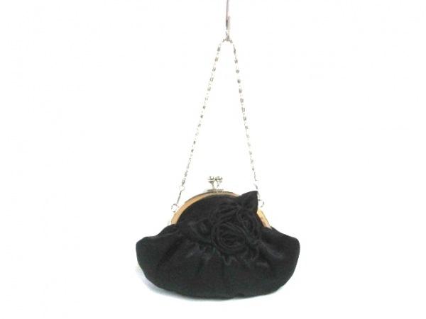 yumi katsura(ユミカツラ) ハンドバッグ 黒×シルバー サテン×金属素材