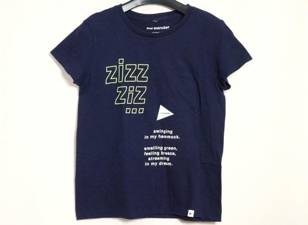 アンドワンダー 半袖Tシャツ レディース美品  ダークネイビー×ライトグリーン×白