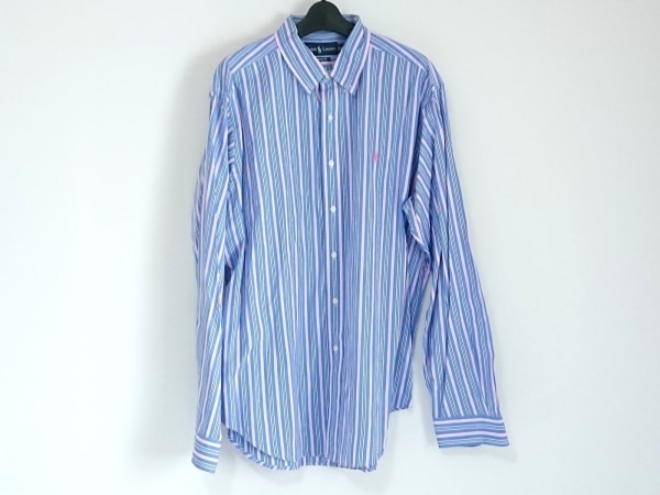 ラルフローレン 長袖シャツ サイズXL メンズ美品  ブルー×ピンク×マルチ ストライプ