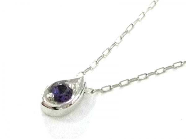 4℃(ヨンドシー) ネックレス美品  K18WG×ダイヤモンド×カラーストーン パープル