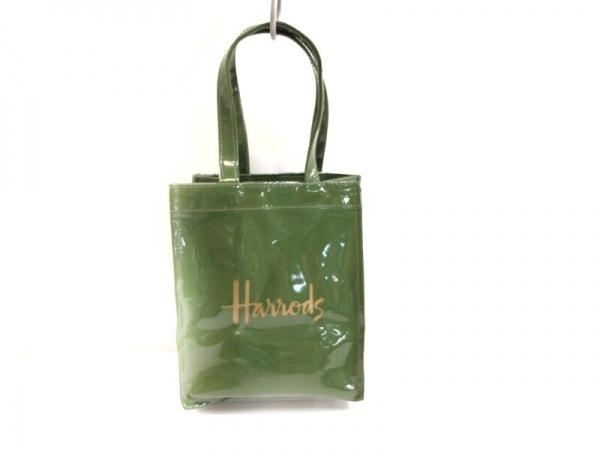 HARRODS(ハロッズ) トートバッグ ダークグリーン ミニ コーティングキャンバス