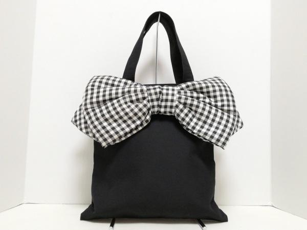 MUGUET(ミュゲ) トートバッグ 黒×白 リボン/チェック柄 ジャガード×化学繊維