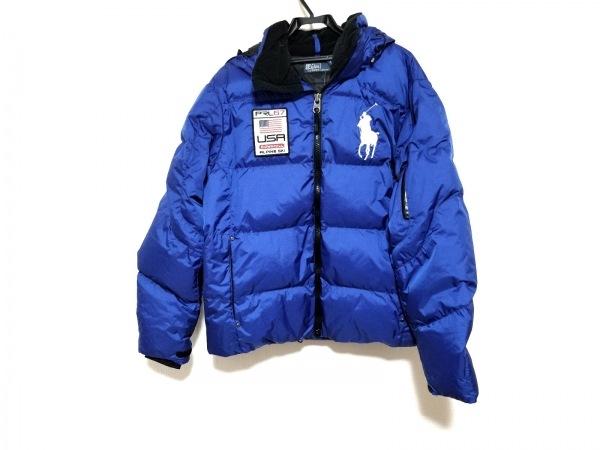 ポロラルフローレン ダウンジャケット サイズL メンズ ビッグポニー ブルー×黒 冬物
