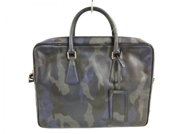プラダ ビジネスバッグ美品  - VS0363 ネイビー×グレー×ダークブラウン 迷彩柄