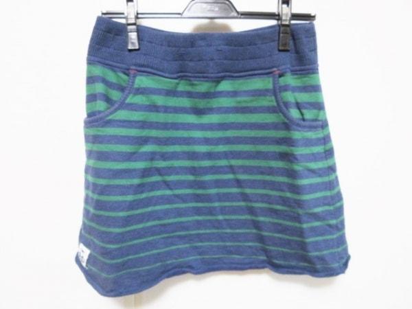 CHUMS(チャムス) ミニスカート サイズ1 S レディース ネイビー×グリーン ボーダー