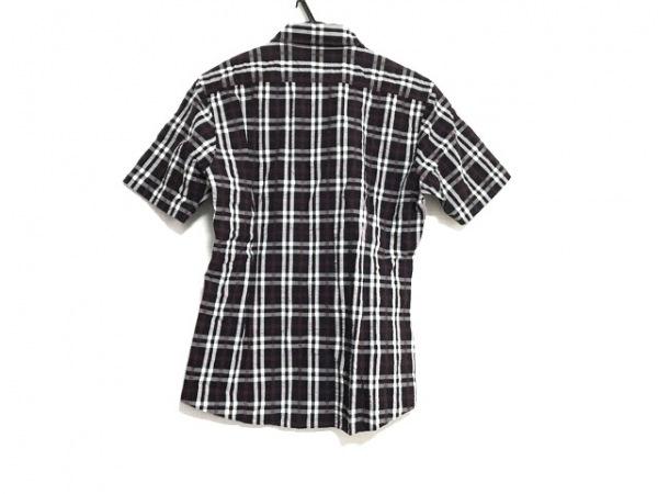 バーバリーブラックレーベル 半袖シャツ サイズ2 M メンズ美品  ネイビー×レッド×白