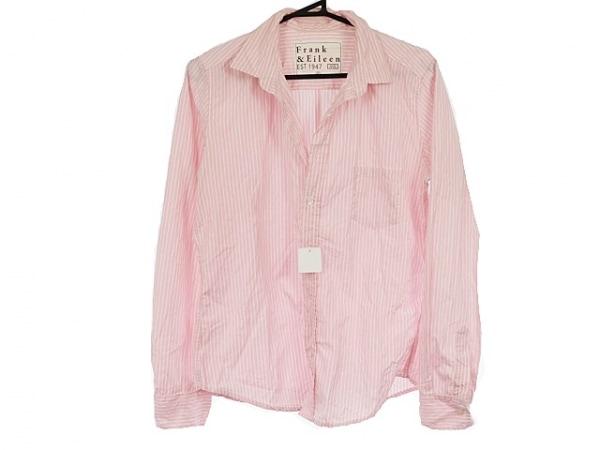 フランク&アイリーン 長袖シャツ サイズS メンズ ピンク×白 開襟シャツ/ストライプ