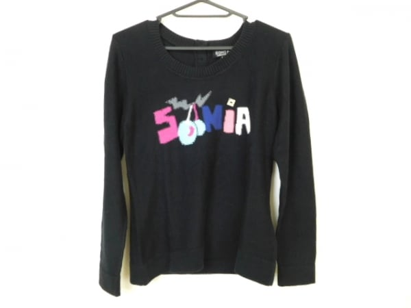 SONIARYKIEL(ソニアリキエル) 長袖セーター サイズ40 M レディース美品  黒×マルチ