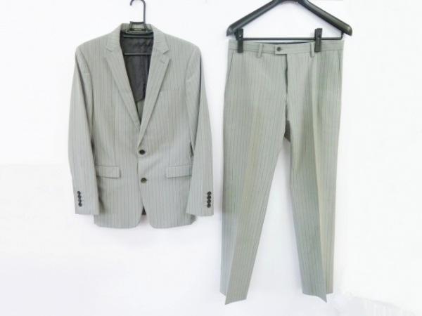 コムサメン シングルスーツ メンズ ライトグレー×グレー シングル/ストライプ