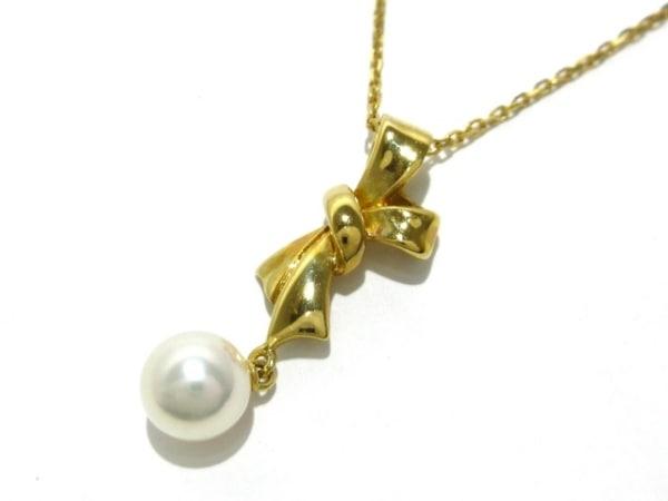 mikimoto(ミキモト) ネックレス美品  K18YG×パール アイボリー リボン