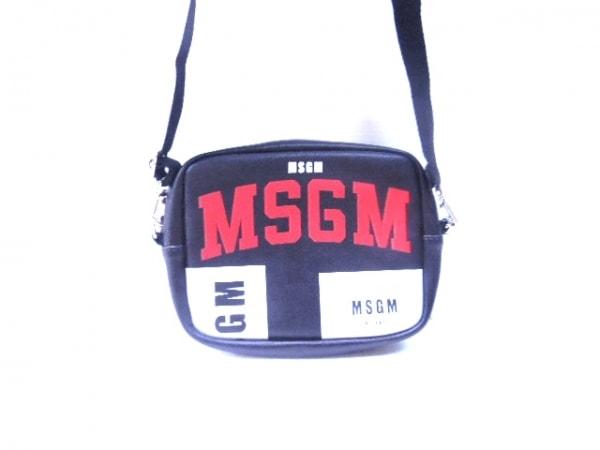 MSGM(エムエスジィエム) ショルダーバッグ 黒×白×レッド レザー