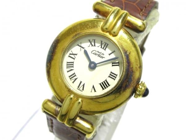 カルティエ 腕時計 マストコリゼ ヴェルメイユ 076898 レディース 革ベルト/925