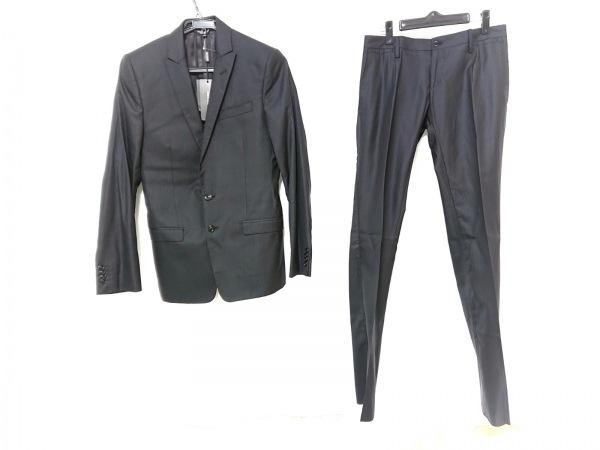 ドルチェアンドガッバーナ シングルスーツ メンズ 黒 肩パッド/ストライプ