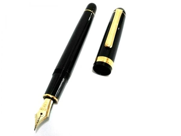 プラチナ 万年筆 黒×ゴールド インクなし/ペン先14K プラスチック×金属素材