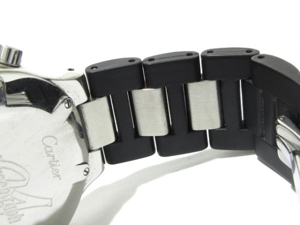 カルティエ 腕時計 マスト21クロノスカフLM W10125U2 メンズ SS/ラバーベルト 黒