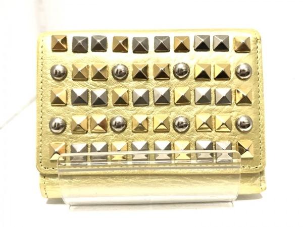 ベッカー 3つ折り財布 イエロー×ゴールド×シルバー スタッズ レザー×金属素材