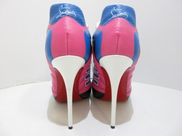 クリスチャンルブタン ブーティ 37 レディース Boltina 白×ピンク×ブルー