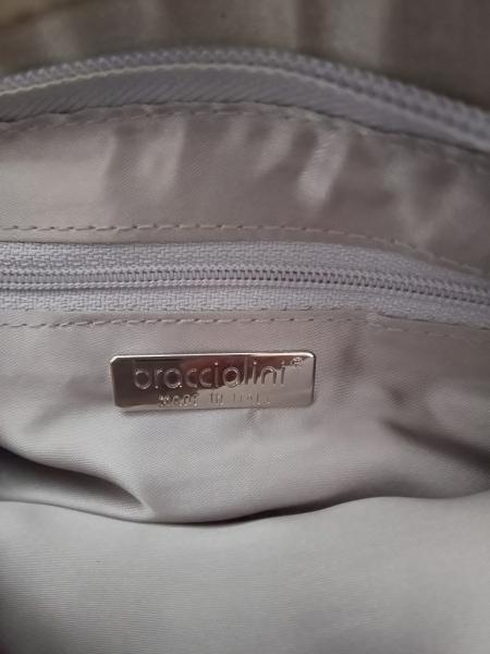 ブラッチャリーニ ハンドバッグ グレー×黒×白 ビーズ/スパンコール サテン