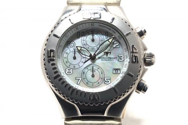 テクノスポーツ 腕時計 TMCO5 レディース 革ベルト/シェル文字盤/クロノグラフ