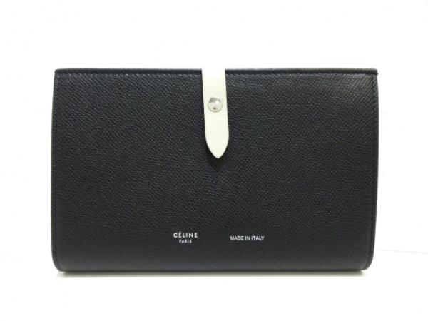 セリーヌ 2つ折り財布美品  ミディアムマルチファンクション 黒×アイボリー レザー