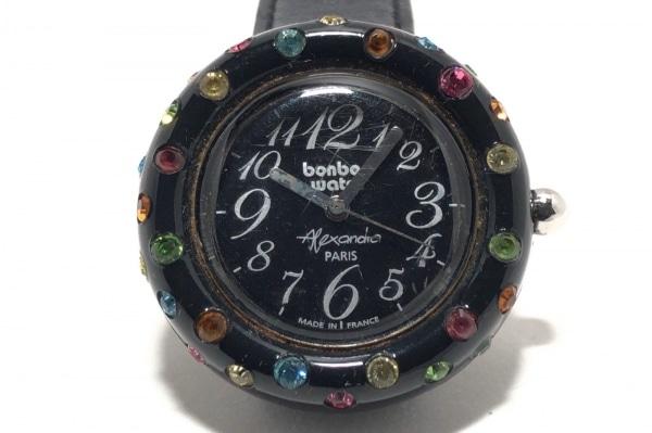 ボンボンウォッチ 腕時計 - レディース Alexandra/革ベルト/ラインストーン 黒