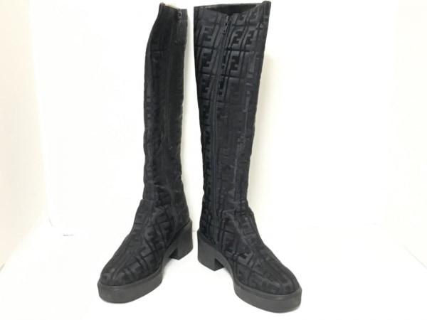 FENDI(フェンディ) ブーツ 36 レディース ズッカ柄 黒 化学繊維