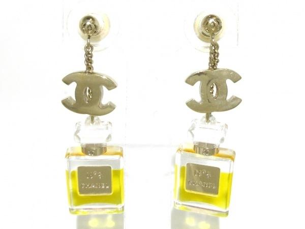 CHANEL(シャネル) ピアス プラスチック×金属素材 イエロー×クリア×ゴールド 香水