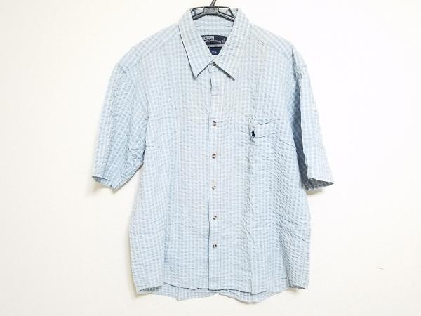 ポロラルフローレン 半袖シャツ メンズ ライトブルー×白×オレンジ チェック柄
