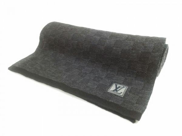 LOUIS VUITTON(ルイヴィトン) マフラー美品  黒×ダークグレー ウール